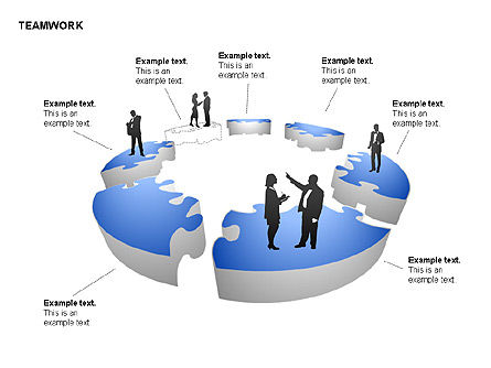 Teamwork Puzzle Donut Diagrams, Slide 12, 00371, Puzzle Diagrams — PoweredTemplate.com