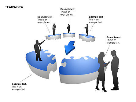 Teamwork Puzzle Donut Diagrams, Slide 13, 00371, Puzzle Diagrams — PoweredTemplate.com