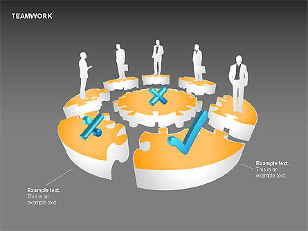 Teamwork Puzzle Donut Diagrams, Slide 15, 00371, Puzzle Diagrams — PoweredTemplate.com