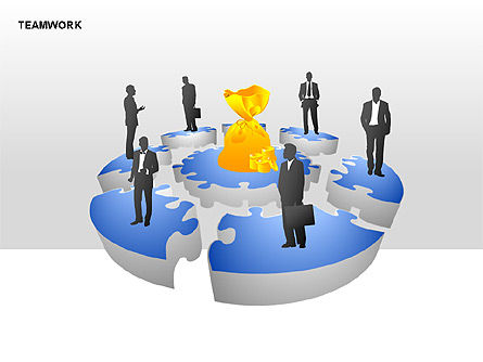 Teamwork Puzzle Donut Diagrams, Slide 2, 00371, Puzzle Diagrams — PoweredTemplate.com