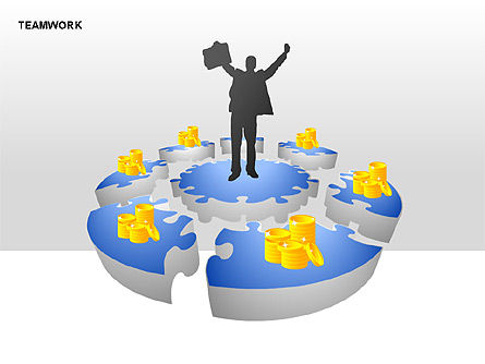 Teamwork Puzzle Donut Diagrams, Slide 3, 00371, Puzzle Diagrams — PoweredTemplate.com