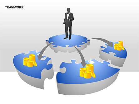 Teamwork Puzzle Donut Diagrams, Slide 4, 00371, Puzzle Diagrams — PoweredTemplate.com
