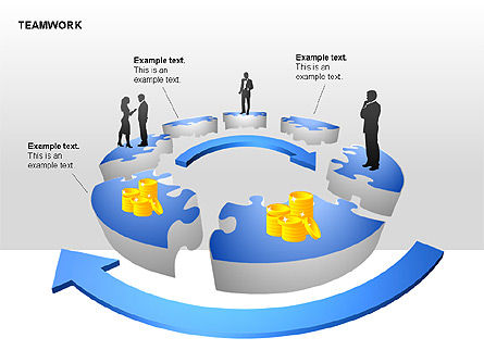 Teamwork Puzzle Donut Diagrams, Slide 5, 00371, Puzzle Diagrams — PoweredTemplate.com