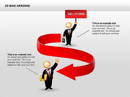 3D Man Arrows, Slide 10, 00375, Shapes — PoweredTemplate.com