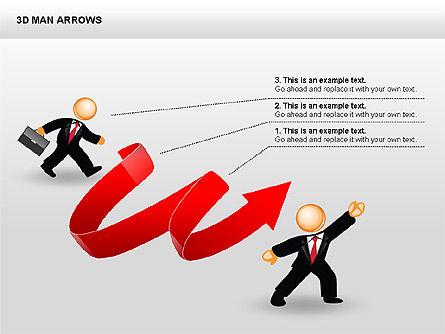 3D Man Arrows, Slide 13, 00375, Shapes — PoweredTemplate.com