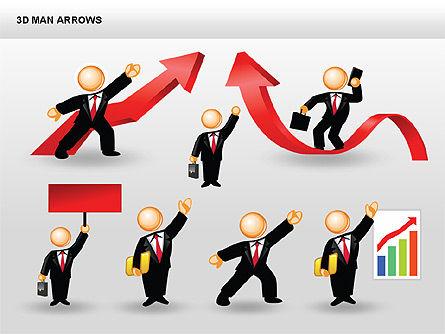 3D Man Arrows, Slide 15, 00375, Shapes — PoweredTemplate.com