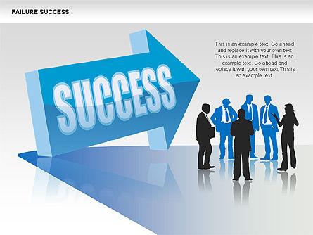 Failure and Success Diagrams, Slide 13, 00383, Silhouettes — PoweredTemplate.com