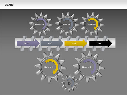 3D Gears Stage Diagrams, Slide 14, 00387, Stage Diagrams — PoweredTemplate.com