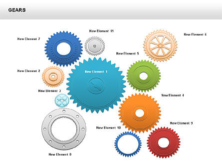 3D Gears Shapes and Diagrams, 00396, Shapes — PoweredTemplate.com