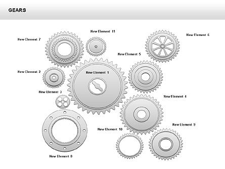 3D Gears Shapes and Diagrams, Slide 10, 00396, Shapes — PoweredTemplate.com