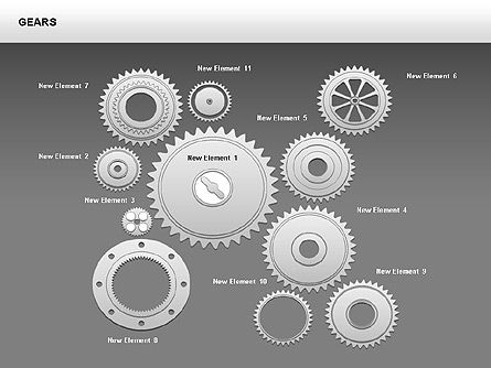 3D Gears Shapes and Diagrams, Slide 15, 00396, Shapes — PoweredTemplate.com