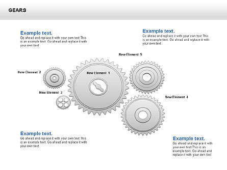 3D Gears Shapes and Diagrams, Slide 4, 00396, Shapes — PoweredTemplate.com