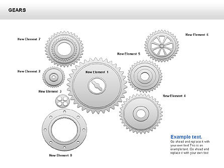 3D Gears Shapes and Diagrams, Slide 7, 00396, Shapes — PoweredTemplate.com