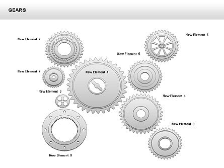 3D Gears Shapes and Diagrams, Slide 8, 00396, Shapes — PoweredTemplate.com