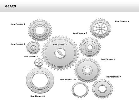 3D Gears Shapes and Diagrams, Slide 9, 00396, Shapes — PoweredTemplate.com