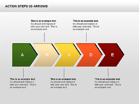 Action Steps 3D Arrows, Slide 2, 00400, Stage Diagrams — PoweredTemplate.com