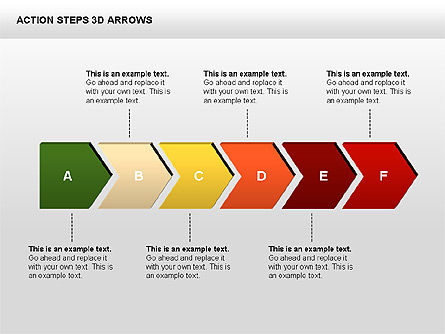 Action Steps 3D Arrows, Slide 3, 00400, Stage Diagrams — PoweredTemplate.com