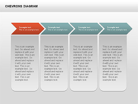 Chevron with Text Boxes Diagram, Slide 10, 00405, Stage Diagrams — PoweredTemplate.com