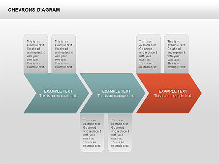 Chevron with Text Boxes Diagram, Slide 14, 00405, Stage Diagrams — PoweredTemplate.com