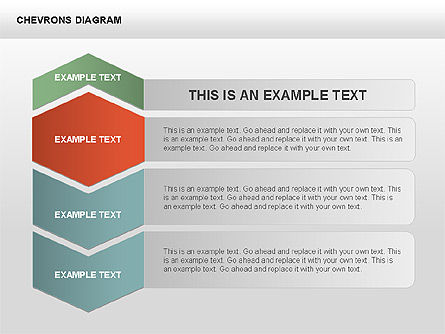 Chevron with Text Boxes Diagram, Slide 15, 00405, Stage Diagrams — PoweredTemplate.com