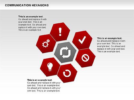 Communication Hexagon Shapes, Slide 12, 00410, Shapes — PoweredTemplate.com