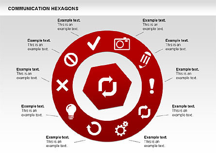 Communication Hexagon Shapes, Slide 14, 00410, Shapes — PoweredTemplate.com