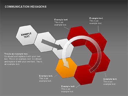 Communication Hexagon Shapes, Slide 15, 00410, Shapes — PoweredTemplate.com