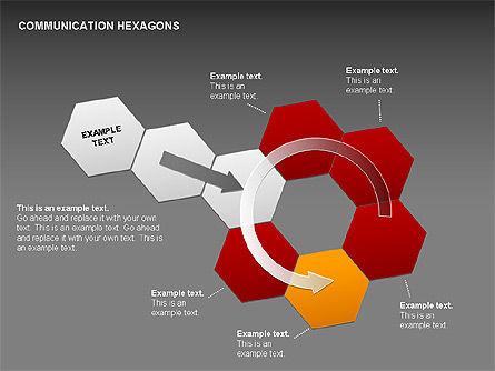 Communication Hexagon Shapes, Slide 16, 00410, Shapes — PoweredTemplate.com