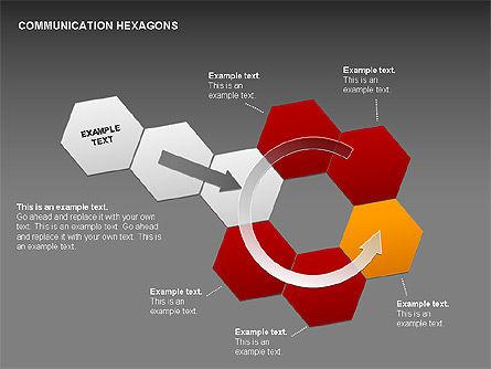 Communication Hexagon Shapes, Slide 17, 00410, Shapes — PoweredTemplate.com