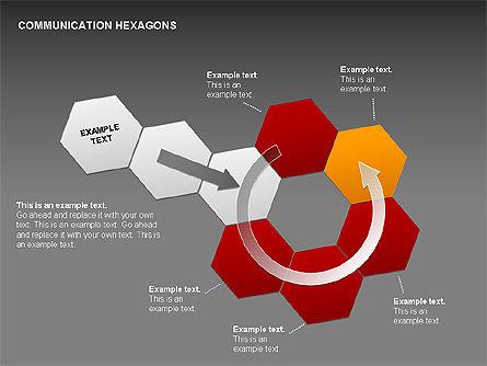 Communication Hexagon Shapes, Slide 18, 00410, Shapes — PoweredTemplate.com