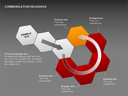 Communication Hexagon Shapes, Slide 19, 00410, Shapes — PoweredTemplate.com