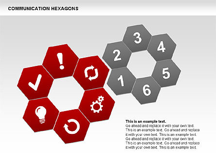 Communication Hexagon Shapes, Slide 2, 00410, Shapes — PoweredTemplate.com