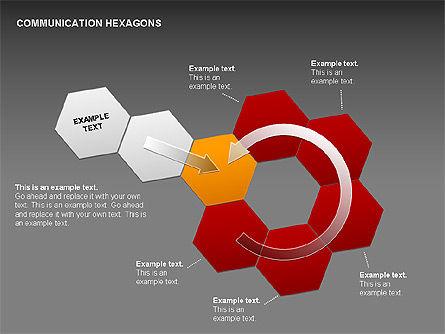 Communication Hexagon Shapes, Slide 20, 00410, Shapes — PoweredTemplate.com