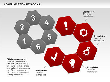 Communication Hexagon Shapes, Slide 3, 00410, Shapes — PoweredTemplate.com