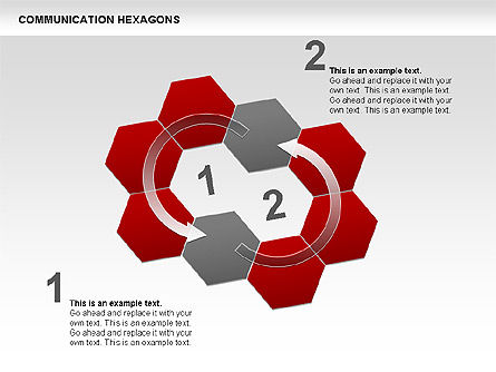 Communication Hexagon Shapes, Slide 4, 00410, Shapes — PoweredTemplate.com