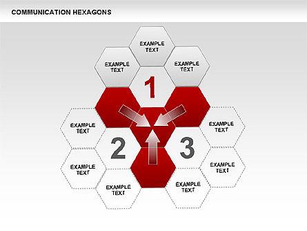 Communication Hexagon Shapes, Slide 6, 00410, Shapes — PoweredTemplate.com