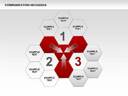 Communication Hexagon Shapes, Slide 8, 00410, Shapes — PoweredTemplate.com