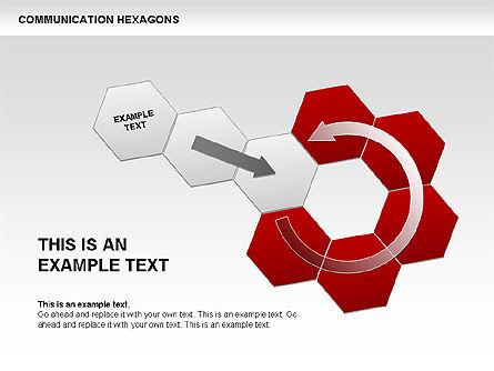 Communication Hexagon Shapes, Slide 9, 00410, Shapes — PoweredTemplate.com