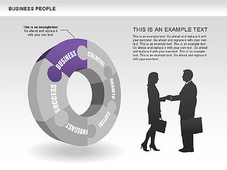 Business Donut Diagrams, 00440, Silhouettes — PoweredTemplate.com