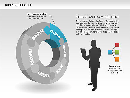 Business Donut Diagrams, Slide 2, 00440, Silhouettes — PoweredTemplate.com