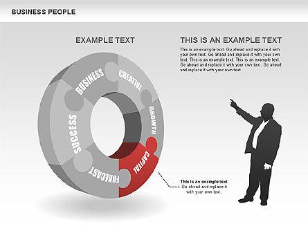 Business Donut Diagrams, Slide 4, 00440, Silhouettes — PoweredTemplate.com