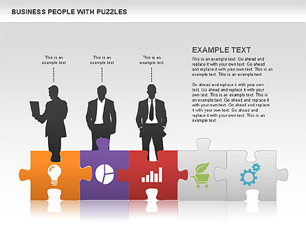 Puzzle and Silhouettes, Slide 3, 00442, Puzzle Diagrams — PoweredTemplate.com