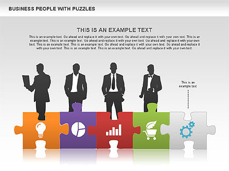 Puzzle and Silhouettes, Slide 4, 00442, Puzzle Diagrams — PoweredTemplate.com