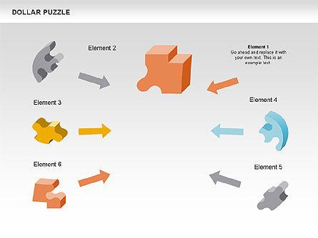 Dollar Puzzle Diagrams, Slide 2, 00449, Puzzle Diagrams — PoweredTemplate.com