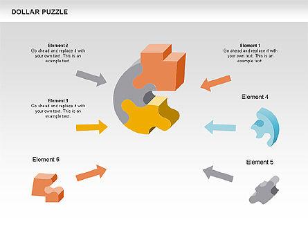 Dollar Puzzle Diagrams, Slide 3, 00449, Puzzle Diagrams — PoweredTemplate.com