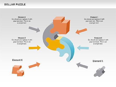 Dollar Puzzle Diagrams, Slide 4, 00449, Puzzle Diagrams — PoweredTemplate.com