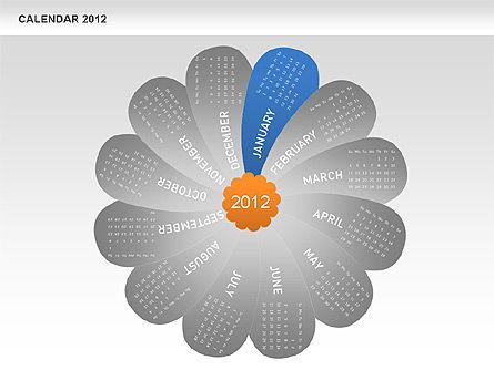 PowerPoint Petals Calendar 2012, Slide 2, 00495, Timelines & Calendars — PoweredTemplate.com