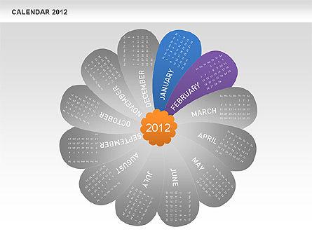 PowerPoint Petals Calendar 2012, Slide 3, 00495, Timelines & Calendars — PoweredTemplate.com