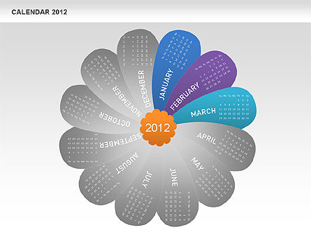 PowerPoint Petals Calendar 2012, Slide 4, 00495, Timelines & Calendars — PoweredTemplate.com