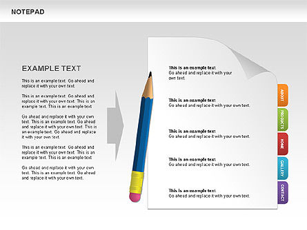 Notepad with Bookmarks Shapes and Diagrams, 00496, Timelines & Calendars — PoweredTemplate.com